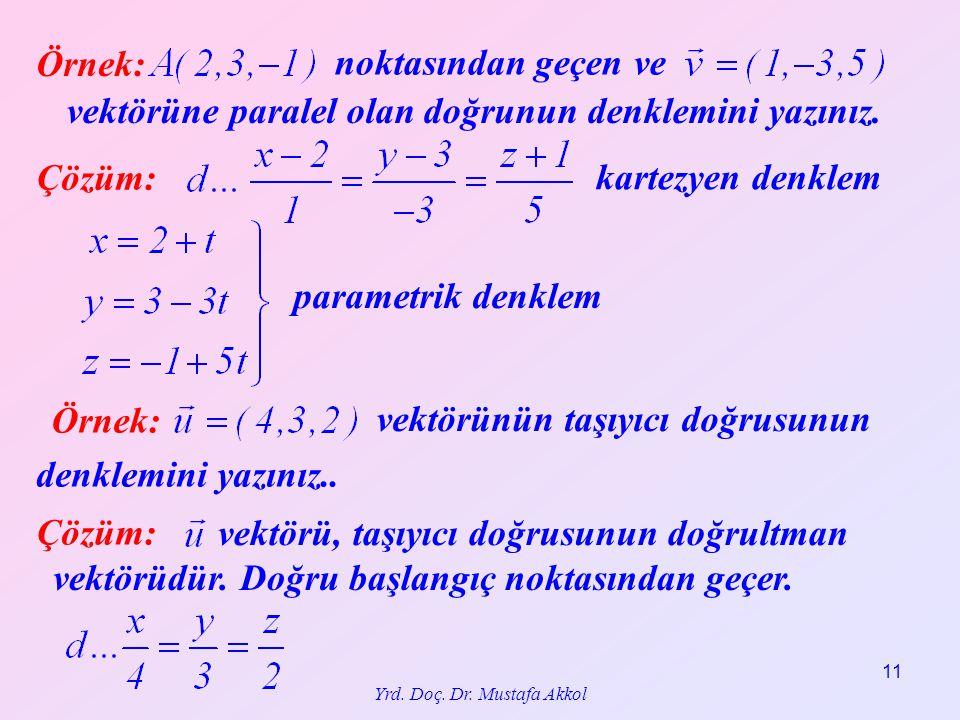 Yrd. Doç. Dr. Mustafa Akkol 11 Örnek: noktasından geçen ve vektörüne paralel olan doğrunun denklemini yazınız. Çözüm: parametrik denklem kartezyen den