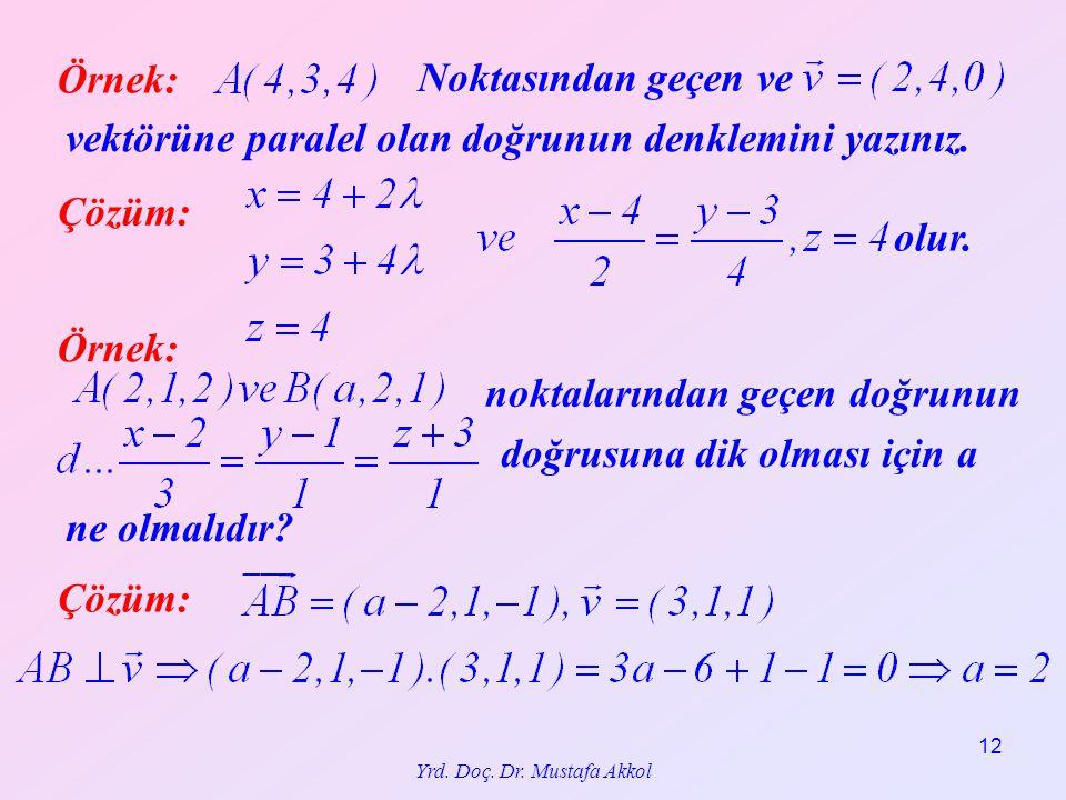Yrd. Doç. Dr. Mustafa Akkol 12 Örnek: Çözüm: Noktasından geçen ve vektörüne paralel olan doğrunun denklemini yazınız. olur. Örnek: Çözüm: noktalarında