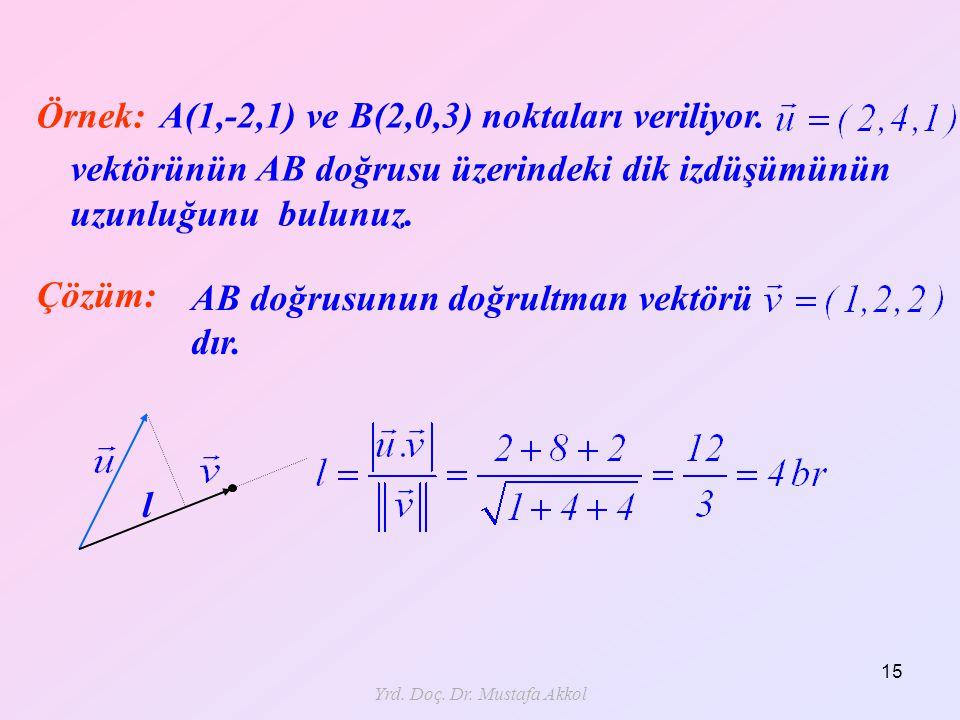 Yrd. Doç. Dr. Mustafa Akkol 15 Örnek:A(1,-2,1) ve B(2,0,3) noktaları veriliyor. vektörünün AB doğrusu üzerindeki dik izdüşümünün uzunluğunu bulunuz. Ç