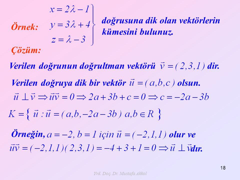 Yrd. Doç. Dr. Mustafa Akkol 18 Örnek: Çözüm: doğrusuna dik olan vektörlerin Verilen doğrunun doğrultman vektörü dir. Verilen doğruya dik bir vektör ol