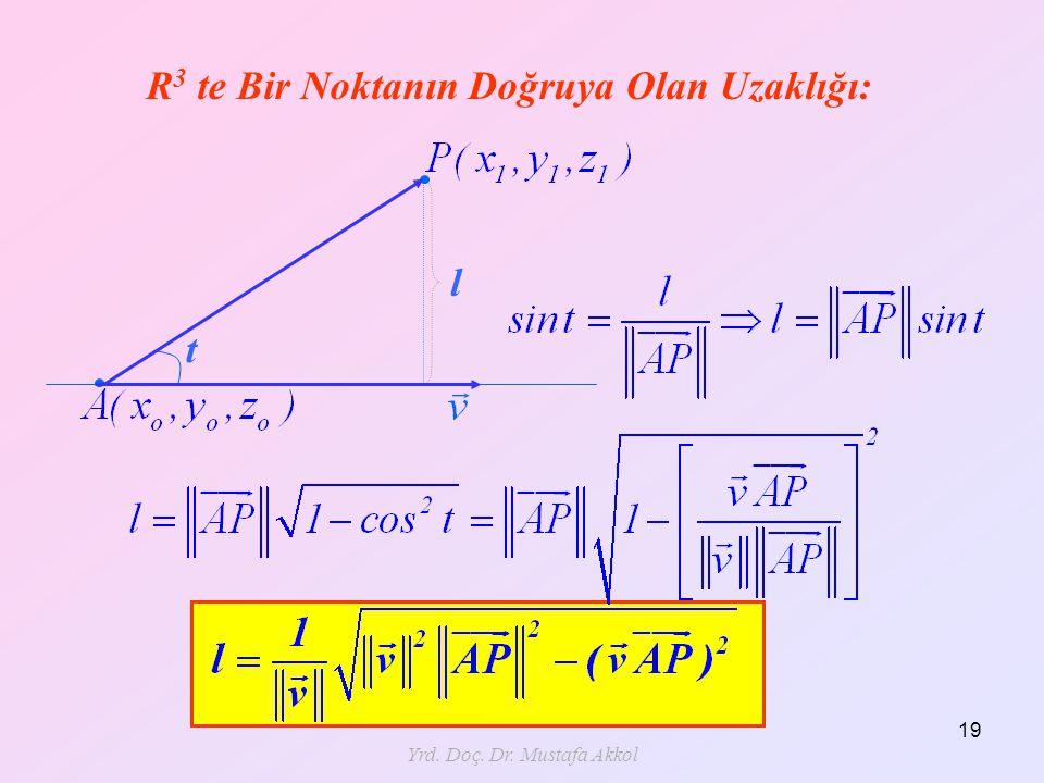 Yrd. Doç. Dr. Mustafa Akkol 19 R 3 te Bir Noktanın Doğruya Olan Uzaklığı: l t