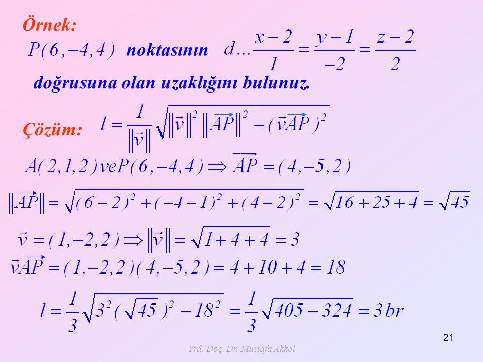 Yrd. Doç. Dr. Mustafa Akkol 21 Örnek: noktasının doğrusuna olan uzaklığını bulunuz. Çözüm: