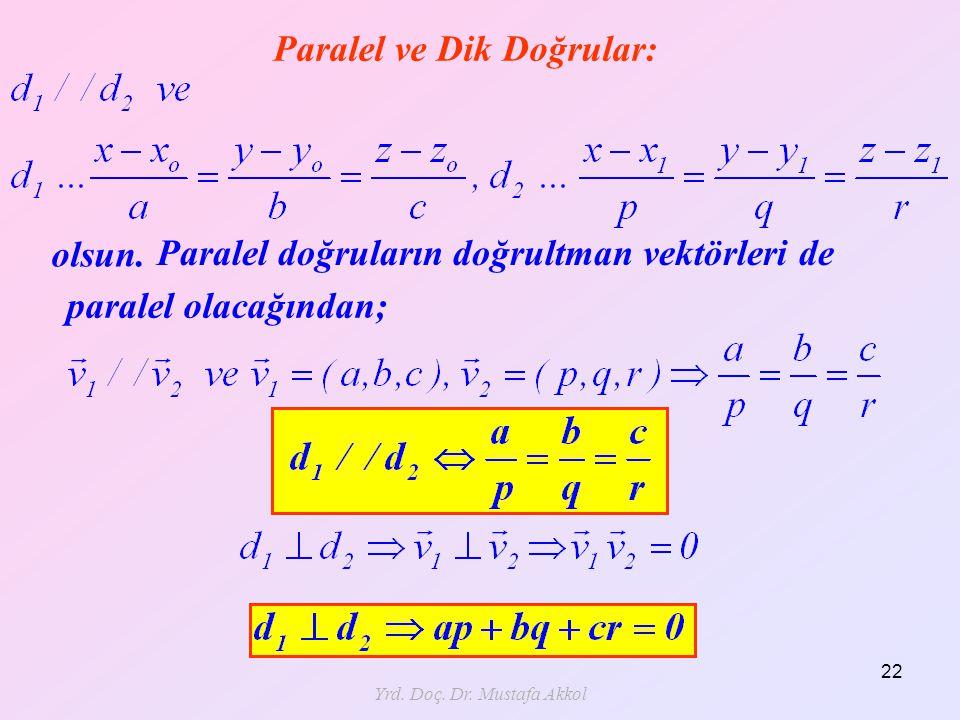 Yrd. Doç. Dr. Mustafa Akkol 22 Paralel ve Dik Doğrular: olsun. Paralel doğruların doğrultman vektörleri de paralel olacağından;