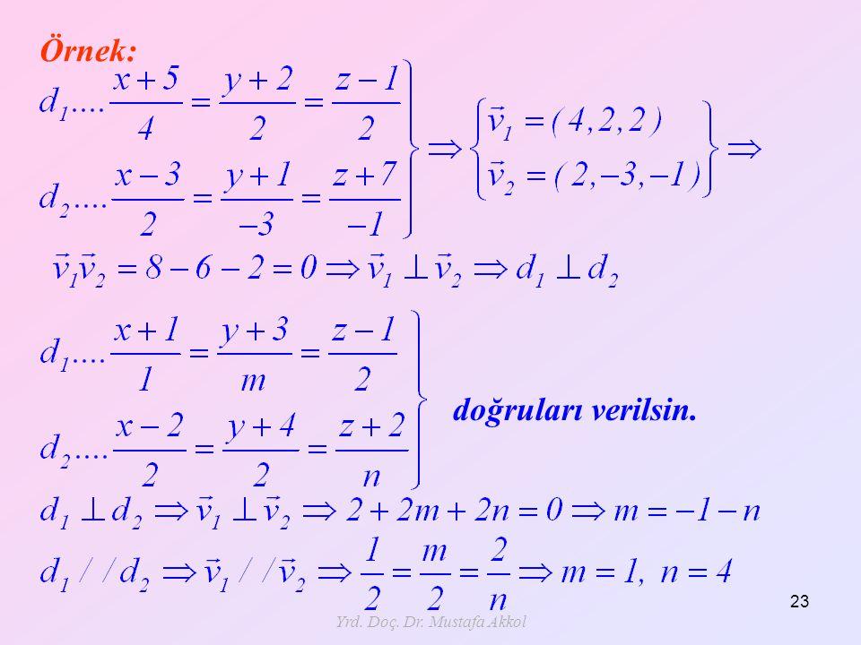 Yrd. Doç. Dr. Mustafa Akkol 23 Örnek: doğruları verilsin.