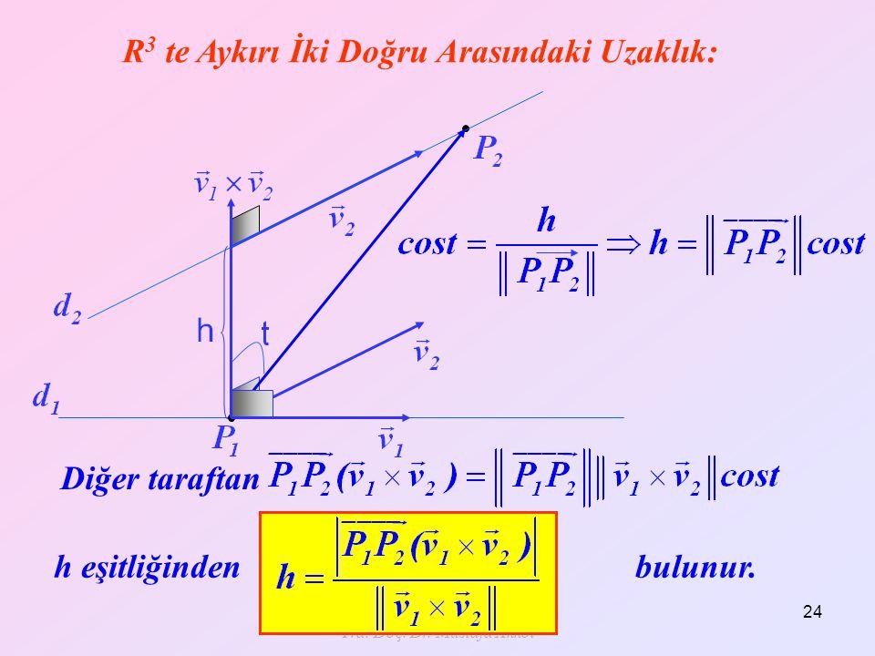 Yrd. Doç. Dr. Mustafa Akkol 24 Diğer taraftan R 3 te Aykırı İki Doğru Arasındaki Uzaklık: h eşitliğinden bulunur.