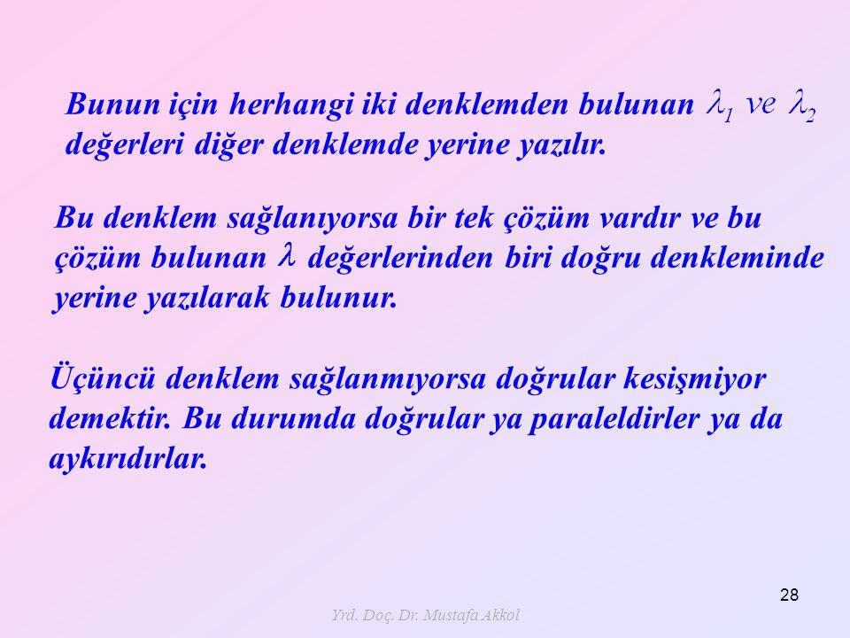 Yrd. Doç. Dr. Mustafa Akkol 28 Üçüncü denklem sağlanmıyorsa doğrular kesişmiyor demektir. Bu durumda doğrular ya paraleldirler ya da aykırıdırlar. Bun