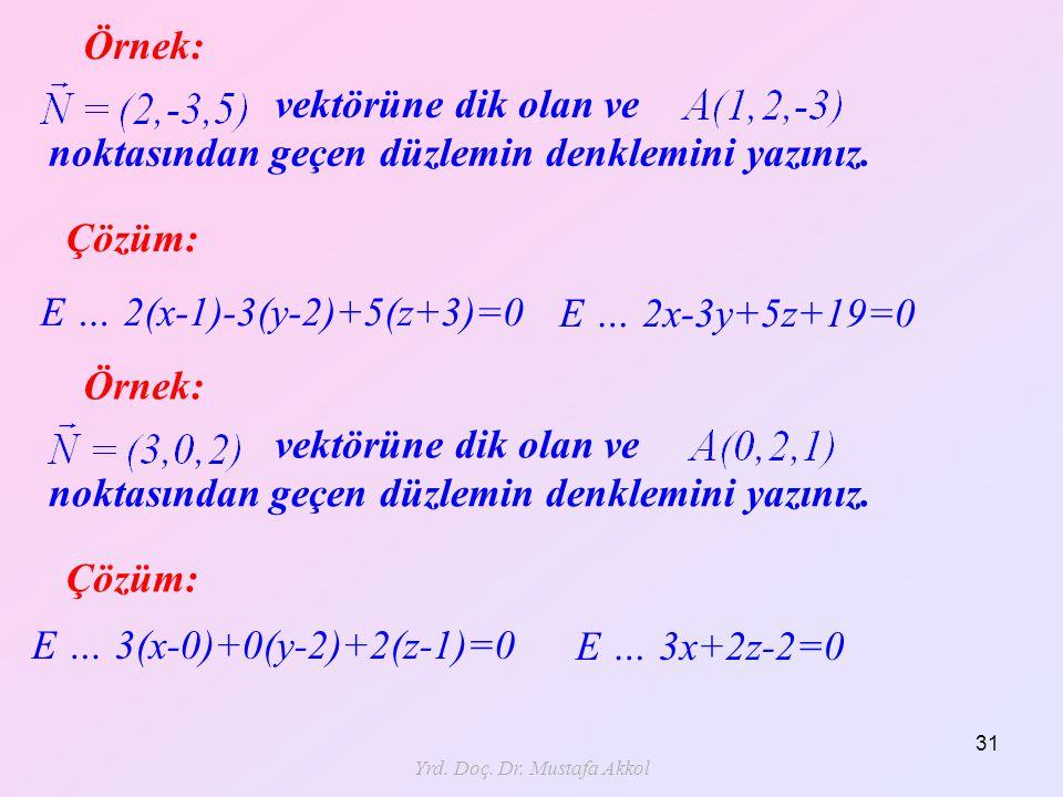 Yrd. Doç. Dr. Mustafa Akkol 31 Örnek: Çözüm: E … 2(x-1)-3(y-2)+5(z+3)=0 vektörüne dik olan ve noktasından geçen düzlemin denklemini yazınız. E … 2x-3y