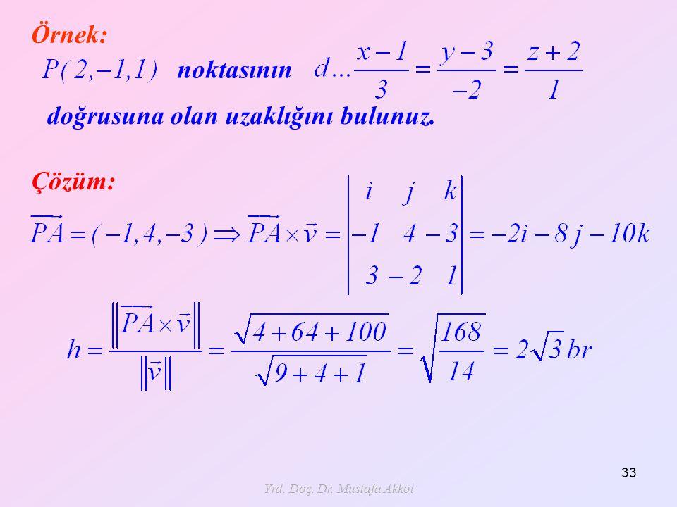 Yrd. Doç. Dr. Mustafa Akkol 33 Örnek: noktasının doğrusuna olan uzaklığını bulunuz. Çözüm: