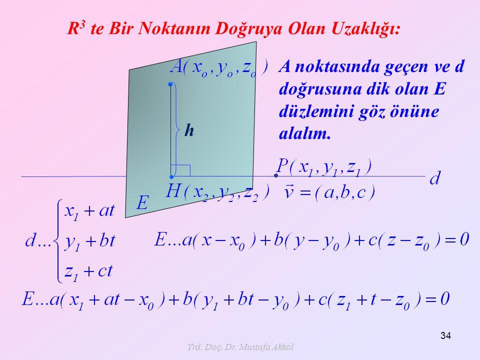 Yrd. Doç. Dr. Mustafa Akkol 34 R 3 te Bir Noktanın Doğruya Olan Uzaklığı: h A noktasında geçen ve d doğrusuna dik olan E düzlemini göz önüne alalım.