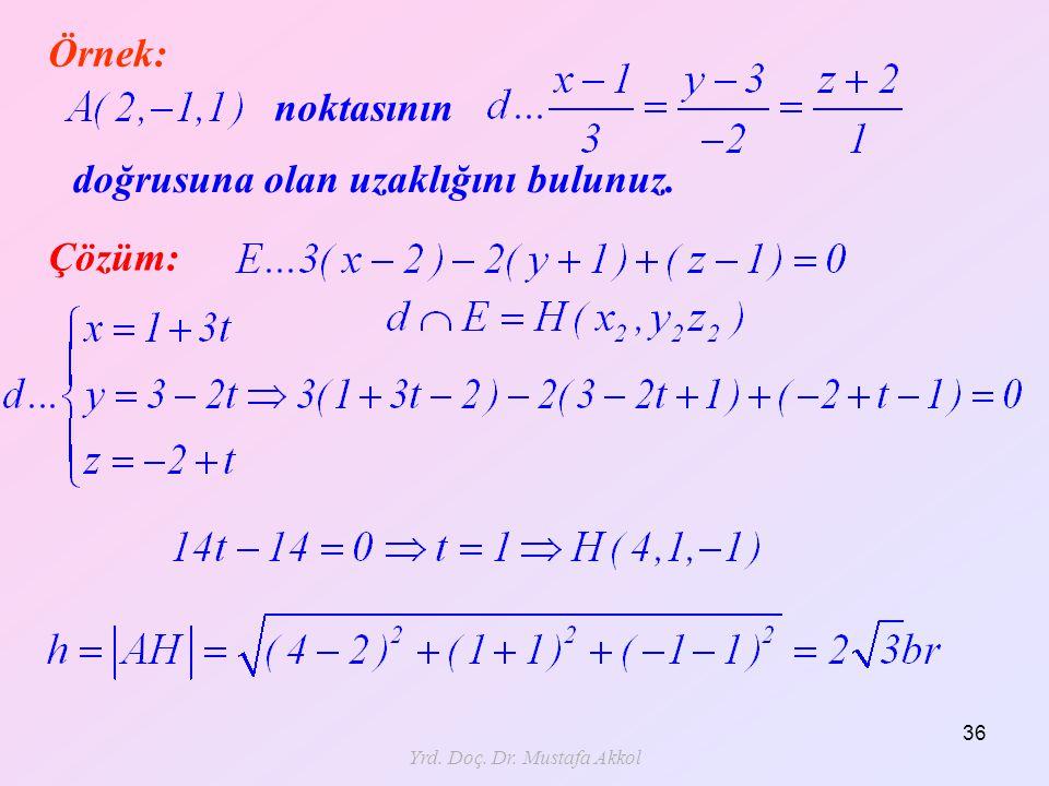 Yrd. Doç. Dr. Mustafa Akkol 36 Örnek: noktasının doğrusuna olan uzaklığını bulunuz. Çözüm: