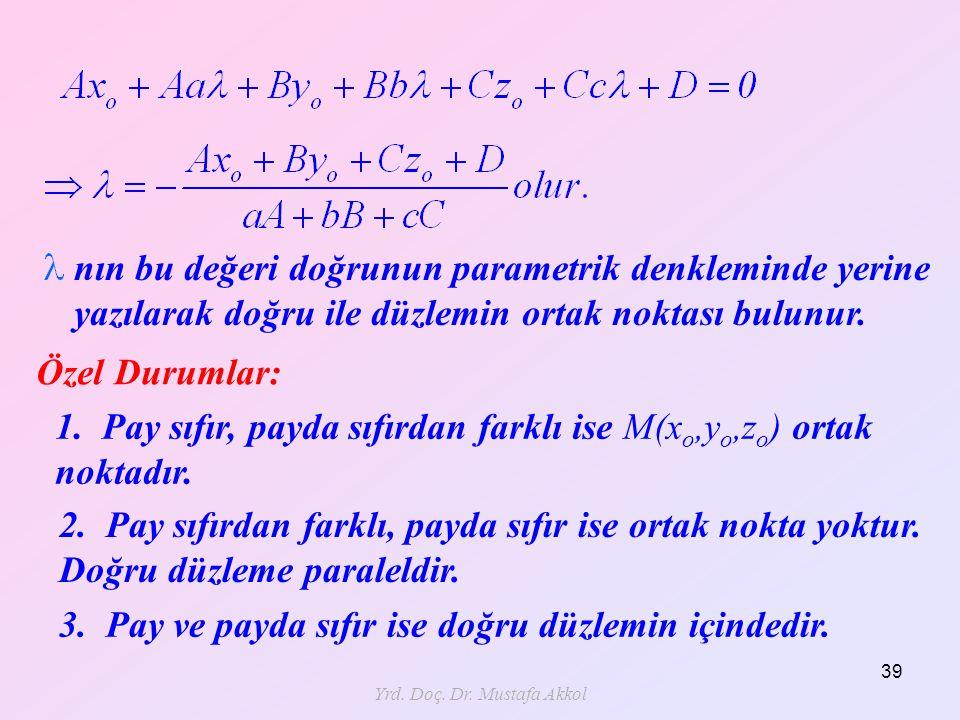 Yrd. Doç. Dr. Mustafa Akkol 39 nın bu değeri doğrunun parametrik denkleminde yerine yazılarak doğru ile düzlemin ortak noktası bulunur. Özel Durumlar: