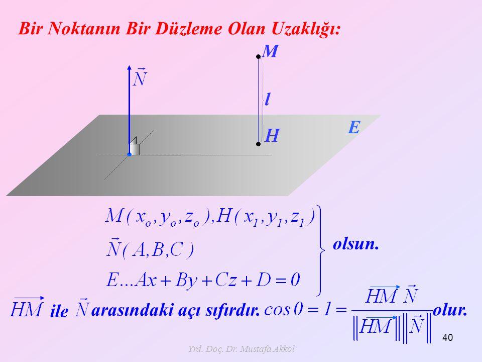 Yrd. Doç. Dr. Mustafa Akkol 40 Bir Noktanın Bir Düzleme Olan Uzaklığı: l M E olsun. ile arasındaki açı sıfırdır. olur.