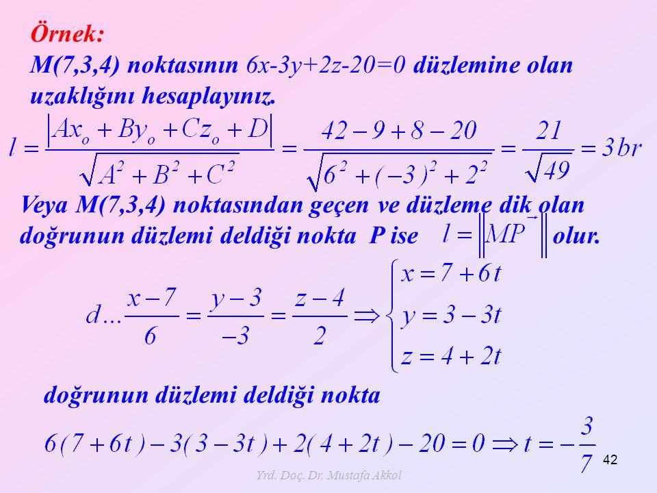 Yrd. Doç. Dr. Mustafa Akkol 42 Örnek: M(7,3,4) noktasının 6x-3y+2z-20=0 düzlemine olan uzaklığını hesaplayınız. Veya M(7,3,4) noktasından geçen ve düz