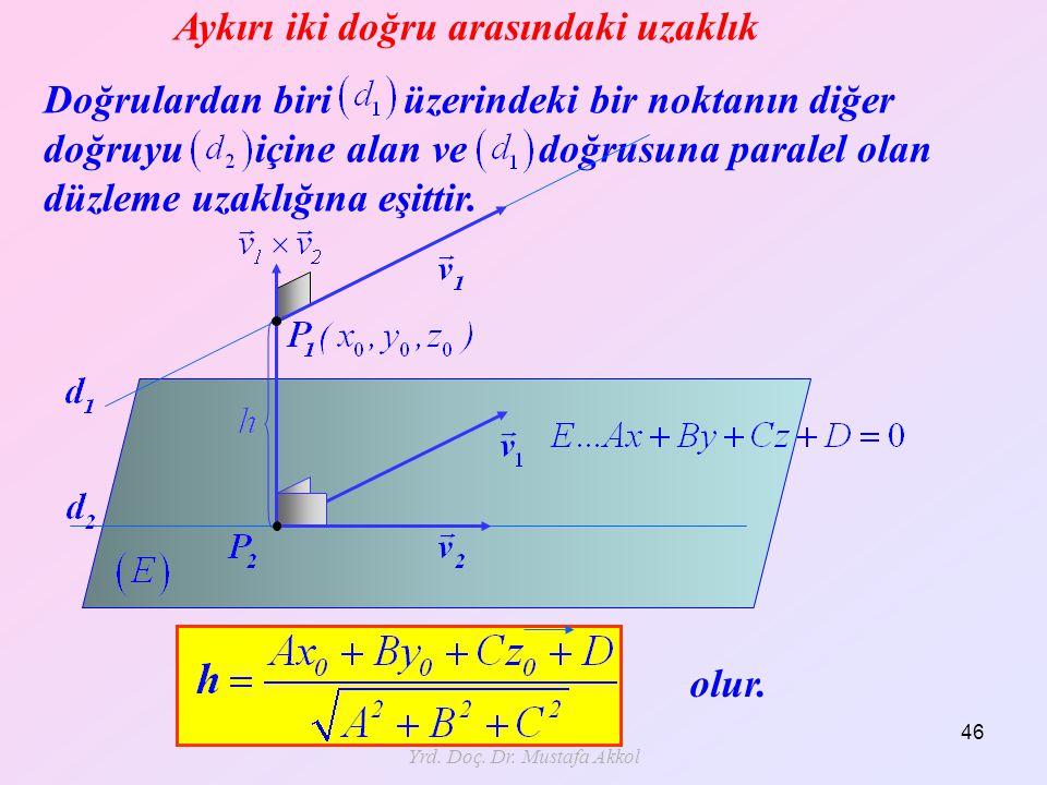 Aykırı iki doğru arasındaki uzaklık Doğrulardan biri üzerindeki bir noktanın diğer doğruyu içine alan ve doğrusuna paralel olan düzleme uzaklığına eşi