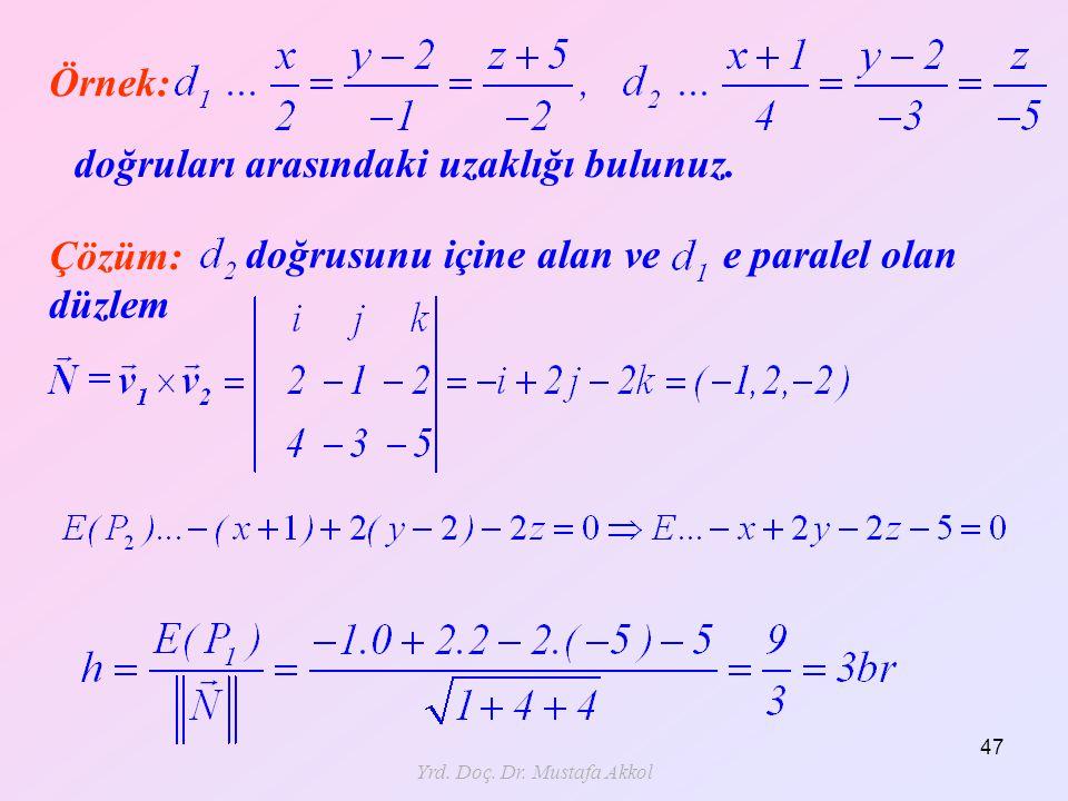 Yrd. Doç. Dr. Mustafa Akkol 47 Çözüm: Örnek: doğruları arasındaki uzaklığı bulunuz. doğrusunu içine alan ve e paralel olan düzlem