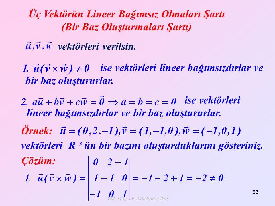 Yrd. Doç. Dr. Mustafa Akkol 53 Üç Vektörün Lineer Bağımsız Olmaları Şartı (Bir Baz Oluşturmaları Şartı) vektörleri verilsin. ise vektörleri lineer bağ