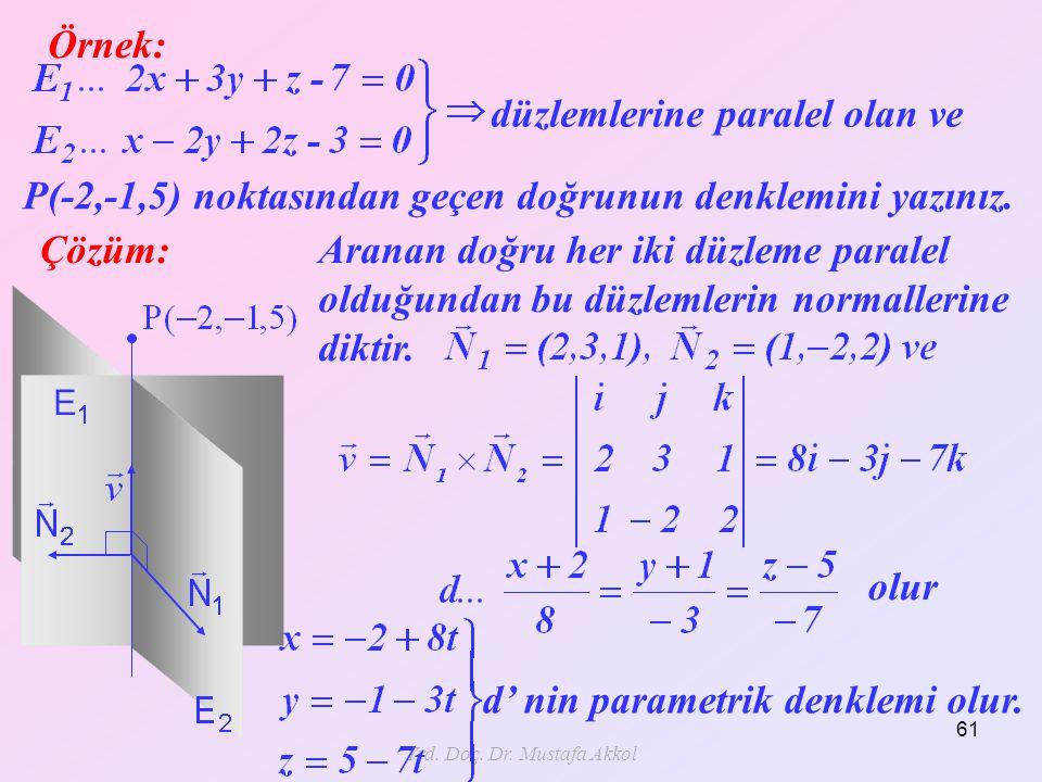 Yrd. Doç. Dr. Mustafa Akkol 61 Örnek: Çözüm: düzlemlerine paralel olan ve P(-2,-1,5) noktasından geçen doğrunun denklemini yazınız. Aranan doğru her i