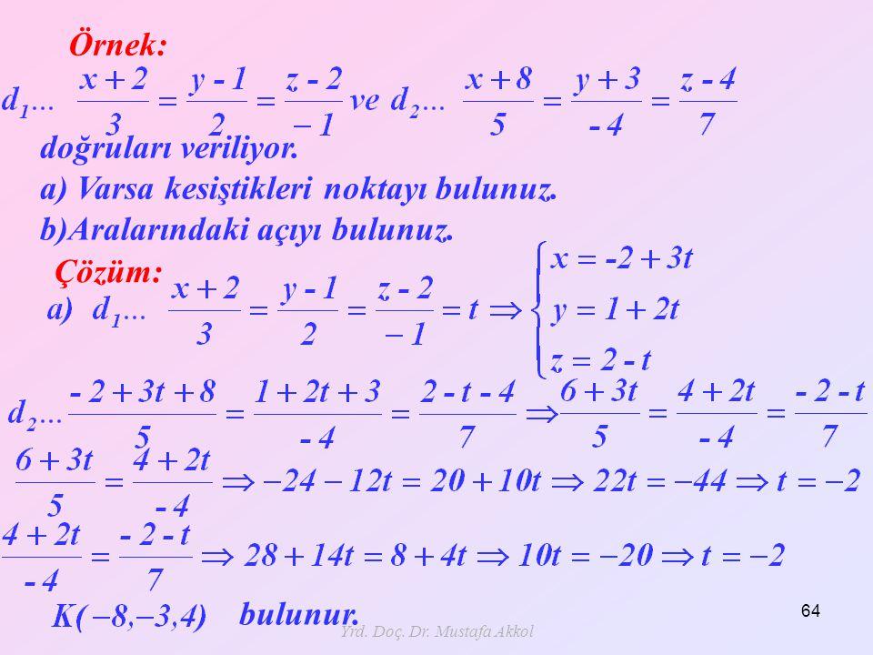 Yrd. Doç. Dr. Mustafa Akkol 64 Örnek: Çözüm: doğruları veriliyor. a) Varsa kesiştikleri noktayı bulunuz. b)Aralarındaki açıyı bulunuz. bulunur.