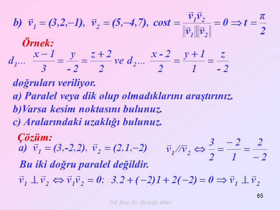 Yrd. Doç. Dr. Mustafa Akkol 65 Örnek: Çözüm: doğruları veriliyor. a) Paralel veya dik olup olmadıklarını araştırınız. b)Varsa kesim noktasını bulunuz.