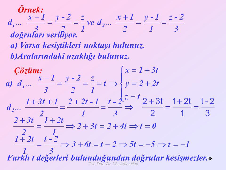 Yrd. Doç. Dr. Mustafa Akkol 68 Örnek: Çözüm: doğruları veriliyor. a) Varsa kesiştikleri noktayı bulunuz. b)Aralarındaki uzaklığı bulunuz. Farklı t değ