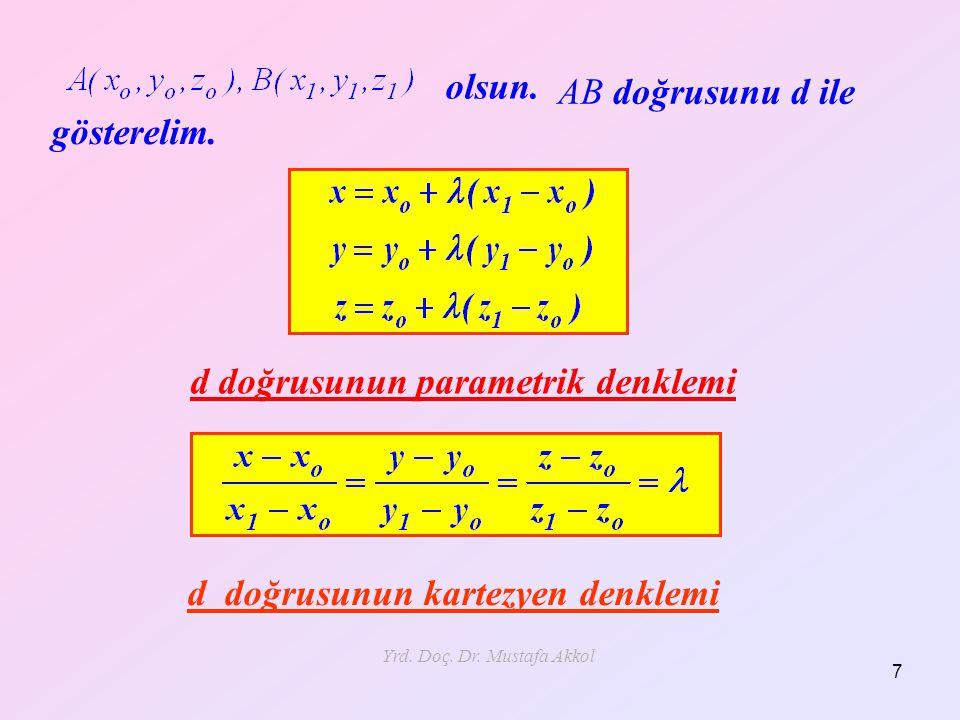Yrd. Doç. Dr. Mustafa Akkol 7 olsun. AB doğrusunu d ile gösterelim. d doğrusunun parametrik denklemi d doğrusunun kartezyen denklemi