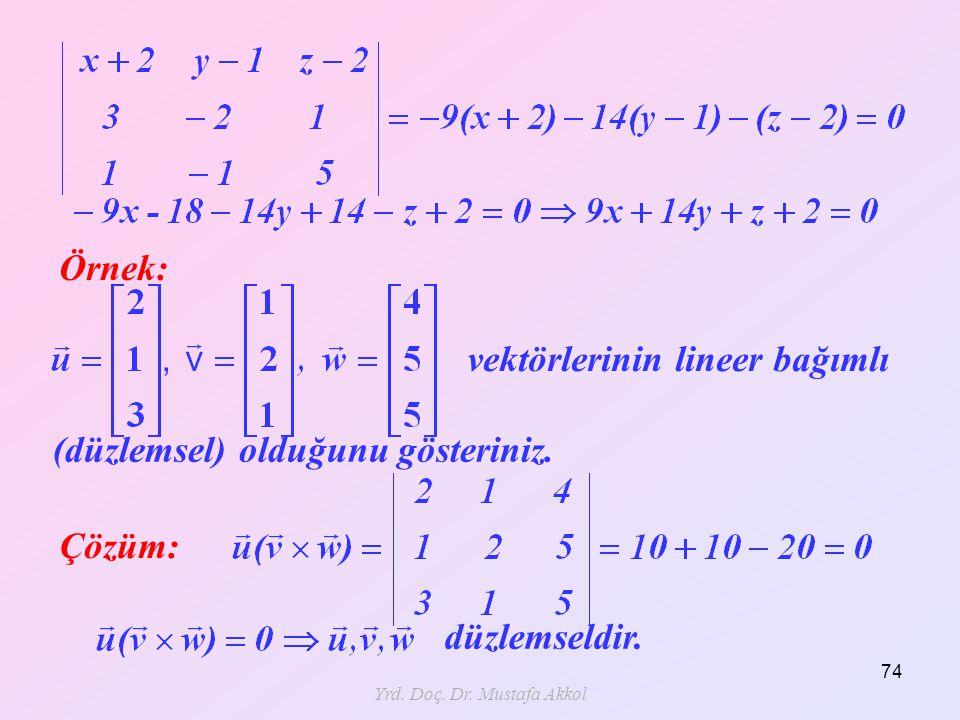 Yrd. Doç. Dr. Mustafa Akkol 74 Örnek: vektörlerinin lineer bağımlı (düzlemsel) olduğunu gösteriniz. Çözüm: düzlemseldir.