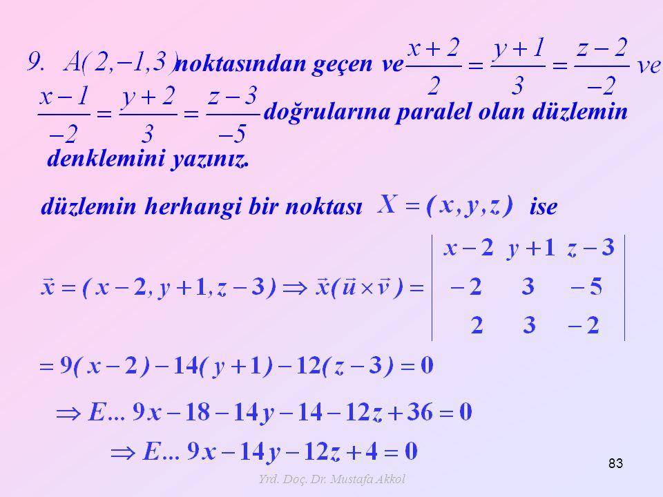 Yrd. Doç. Dr. Mustafa Akkol 83 noktasından geçen ve doğrularına paralel olan düzlemin denklemini yazınız. düzlemin herhangi bir noktası ise
