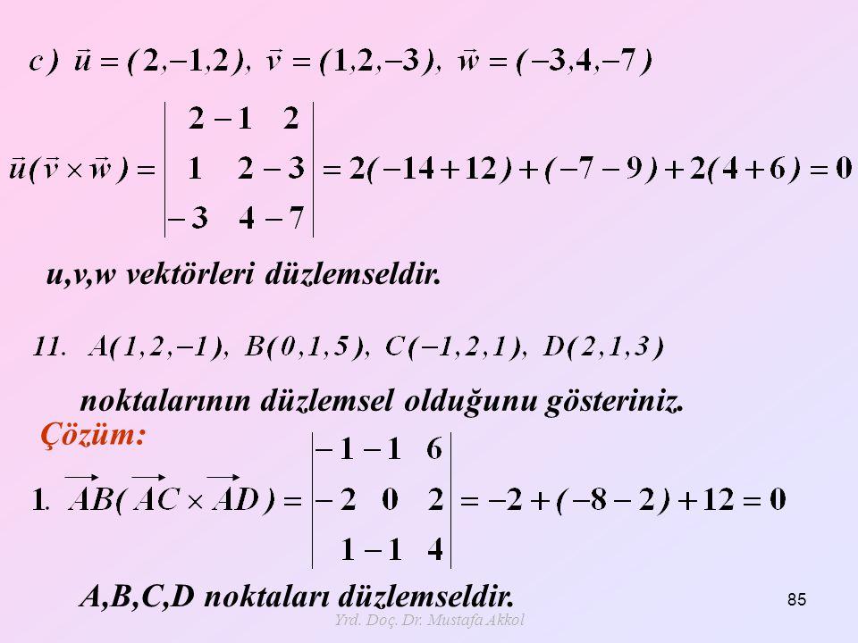 Yrd. Doç. Dr. Mustafa Akkol 85 u,v,w vektörleri düzlemseldir. noktalarının düzlemsel olduğunu gösteriniz. A,B,C,D noktaları düzlemseldir. Çözüm: