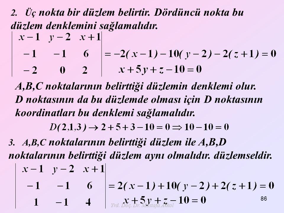 Yrd. Doç. Dr. Mustafa Akkol 86 A,B,C noktalarının belirttiği düzlemin denklemi olur. D noktasının da bu düzlemde olması için D noktasının koordinatlar