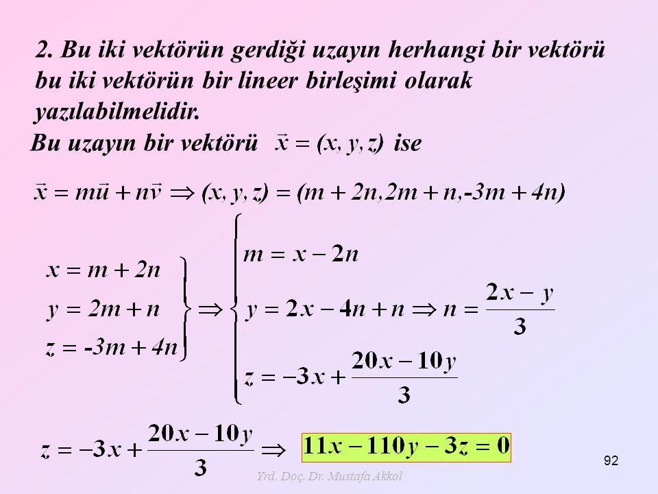 Yrd. Doç. Dr. Mustafa Akkol 92 2. Bu iki vektörün gerdiği uzayın herhangi bir vektörü bu iki vektörün bir lineer birleşimi olarak yazılabilmelidir. Bu