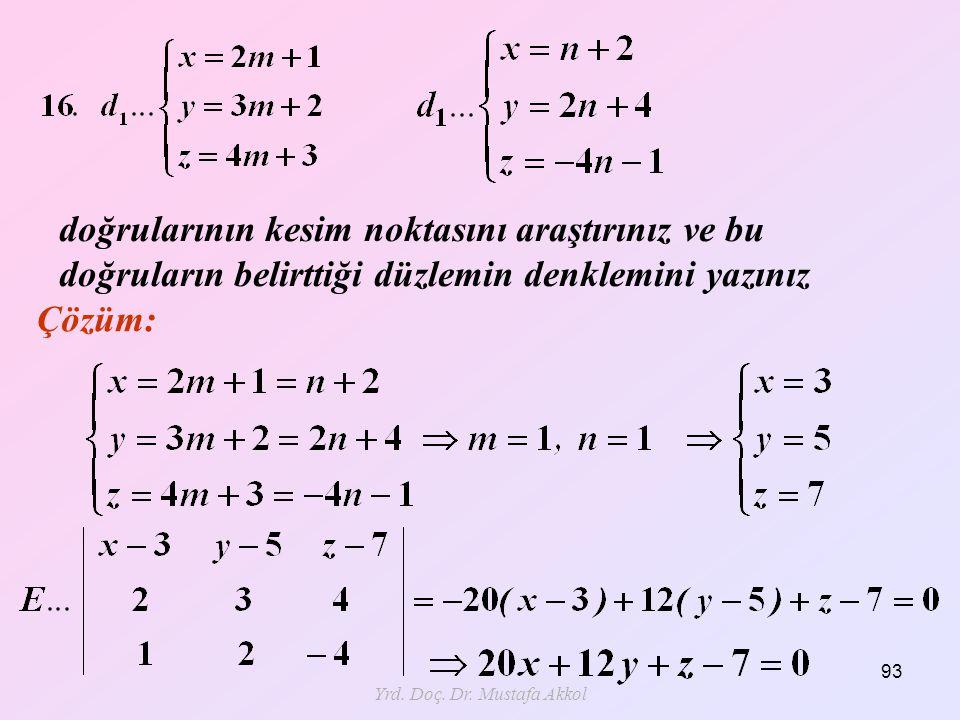 Yrd. Doç. Dr. Mustafa Akkol 93 doğrularının kesim noktasını araştırınız ve bu doğruların belirttiği düzlemin denklemini yazınız Çözüm: