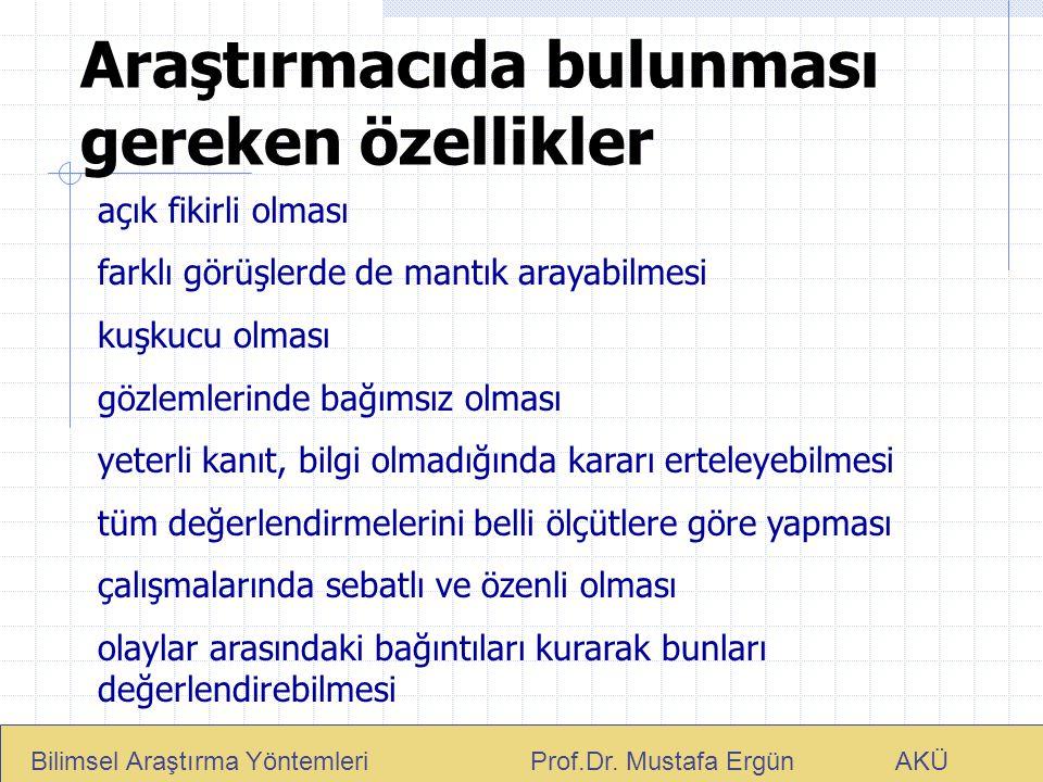 Araştırmacıda bulunması gereken özellikler Bilimsel Araştırma Yöntemleri Prof.Dr. Mustafa Ergün AKÜ açık fikirli olması farklı görüşlerde de mantık ar