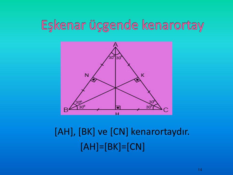 [AH], [BK] ve [CN] kenarortaydır. [AH]=[BK]=[CN] 14