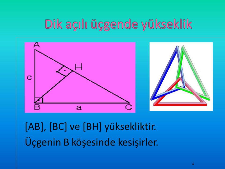 [AB], [BC] ve [BH] yüksekliktir. Üçgenin B köşesinde kesişirler. 4
