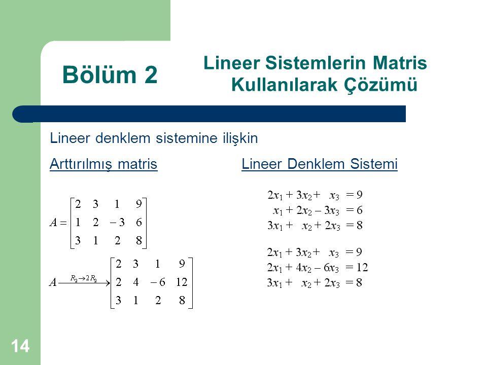 14 Lineer Sistemlerin Matris Kullanılarak Çözümü Lineer denklem sistemine ilişkin Arttırılmış matris Lineer Denklem Sistemi Bölüm 2