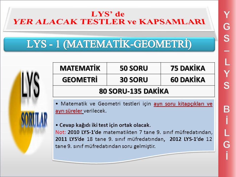 ayrı soru kitapçıkları ve ayrı süreler Matematik ve Geometri testleri için ayrı soru kitapçıkları ve ayrı süreler verilecek.