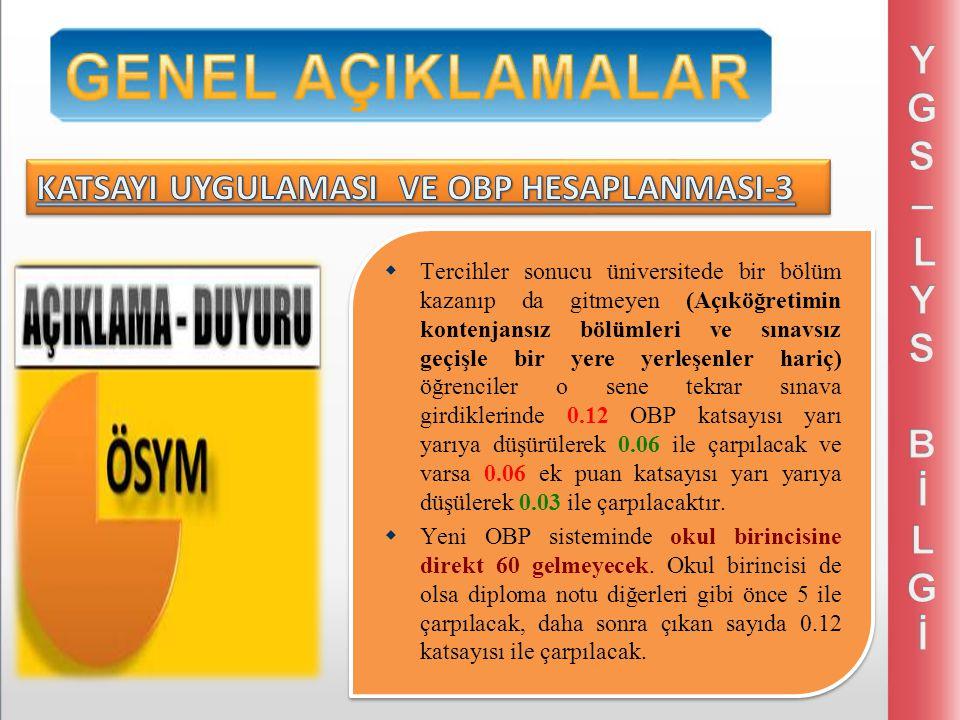 ANADOLU LİSELERİ İÇİN Y-YGS =YGS + (0,12 x OBP) Y-LYS-MF =LYS-MF + (0,12 x OBP) Y-LYS-TM =LYS-TM + (0,12 x OBP) Y-LYS-TS =LYS-TS + (0,12 x OBP) Y-LYS-DİL =LYS-DİL + (0,12 x OBP) ANADOLU LİSELERİ İÇİN Y-YGS =YGS + (0,12 x OBP) Y-LYS-MF =LYS-MF + (0,12 x OBP) Y-LYS-TM =LYS-TM + (0,12 x OBP) Y-LYS-TS =LYS-TS + (0,12 x OBP) Y-LYS-DİL =LYS-DİL + (0,12 x OBP) En yüksek (560) puan 500 + (0,12 x 500) = 560 olacaktır.