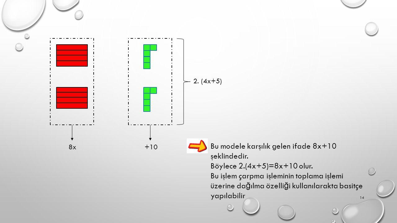 8x +10 2.(4x+5) Bu modele karşılık gelen ifade 8x+10 şeklindedir.