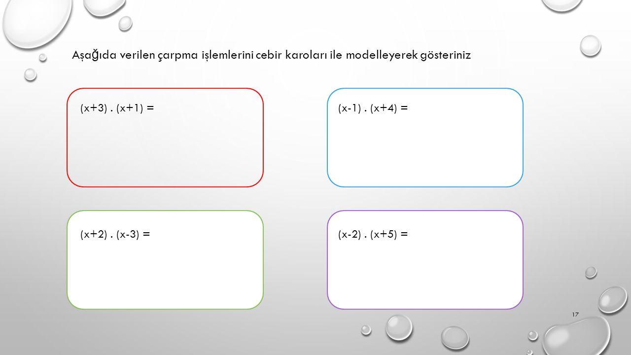 Aşa ğ ıda verilen çarpma işlemlerini cebir karoları ile modelleyerek gösteriniz (x+3).