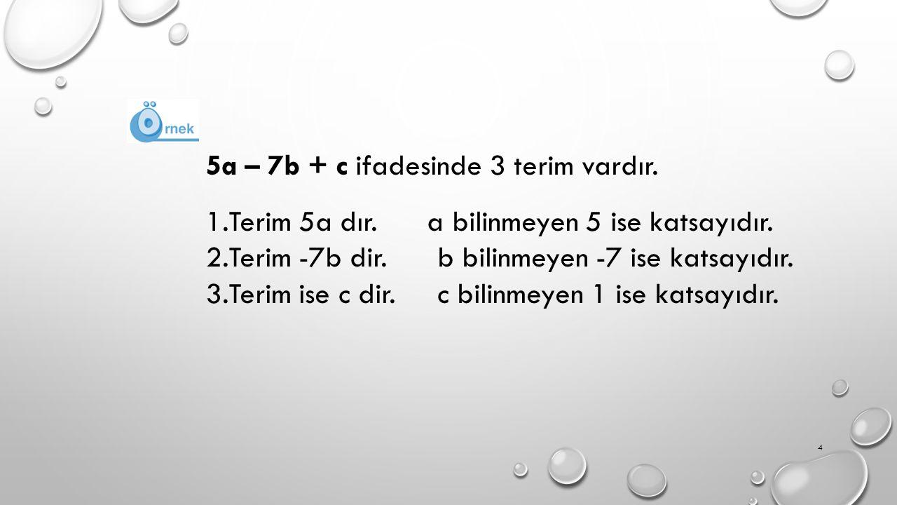 5a – 7b + c ifadesinde 3 terim vardır.1.Terim 5a dır.