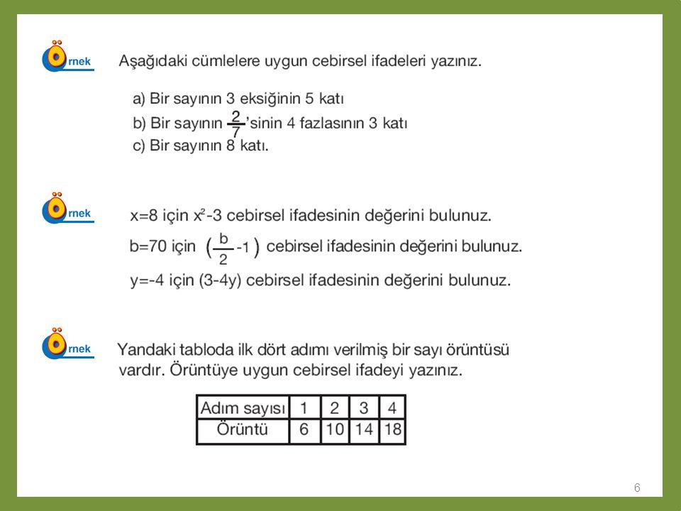 7 Cebirsel ifadelerde toplama Cebirsel ifadelerde toplama