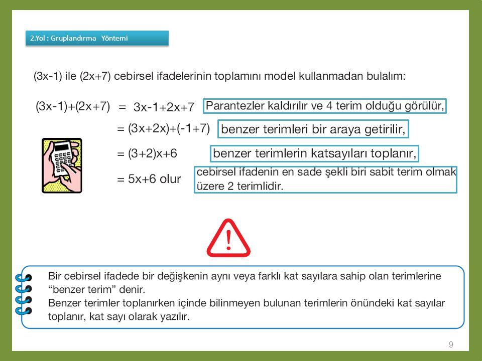 10 1.Yol : Modelleme Yöntemi - x+2 veya 2-x - x+2 veya 2-x 2.Yol : Gruplandırma Yöntemi