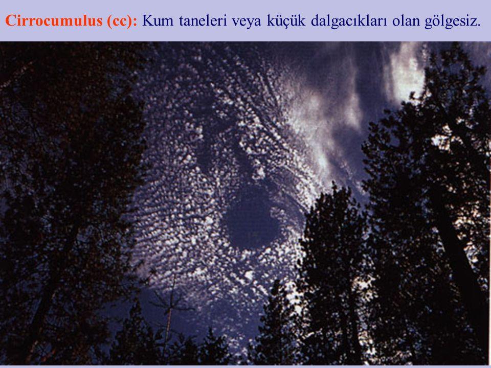 Cirrostratus (cs): Gökyüzünü tamamen ya da kısmen kaplar, hale yapar, lif lif şeffaf.