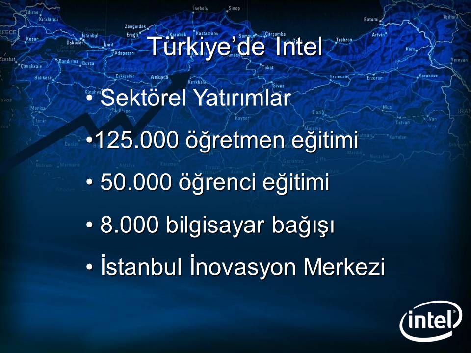 Türkiye'de Intel Sektörel Yatırımlar 125.000 öğretmen eğitimi125.000 öğretmen eğitimi 50.000 öğrenci eğitimi 50.000 öğrenci eğitimi 8.000 bilgisayar b