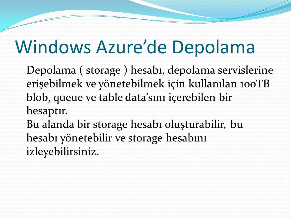 Windows Azure'de Depolama Depolama ( storage ) hesabı, depolama servislerine erişebilmek ve yönetebilmek için kullanılan 100TB blob, queue ve table da