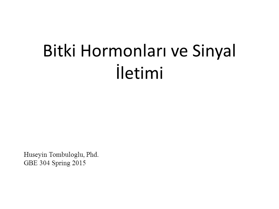 Bitki Hormonları ve Sinyal İletimi Huseyin Tombuloglu, Phd. GBE 304 Spring 2015
