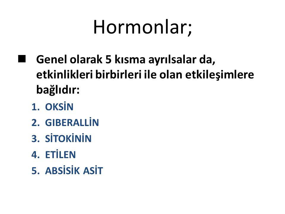 Hormonlar; Genel olarak 5 kısma ayrılsalar da, etkinlikleri birbirleri ile olan etkileşimlere bağlıdır: 1. OKSİN 2. GIBERALLİN 3. SİTOKİNİN 4. ETİLEN