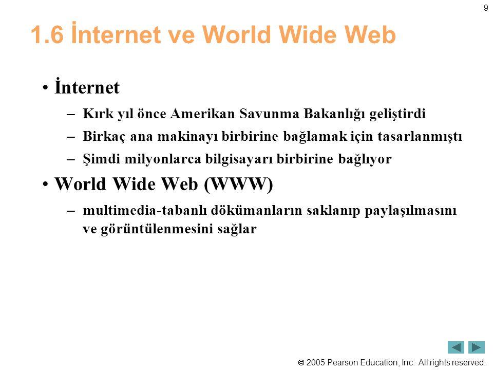  2005 Pearson Education, Inc. All rights reserved. 9 1.6 İnternet ve World Wide Web İnternet – Kırk yıl önce Amerikan Savunma Bakanlığı geliştirdi –