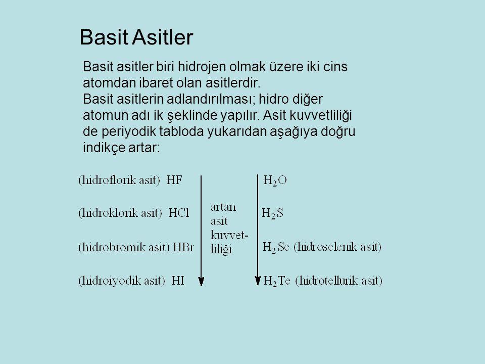 Basit asitler biri hidrojen olmak üzere iki cins atomdan ibaret olan asitlerdir. Basit asitlerin adlandırılması; hidro diğer atomun adı ik şeklinde ya