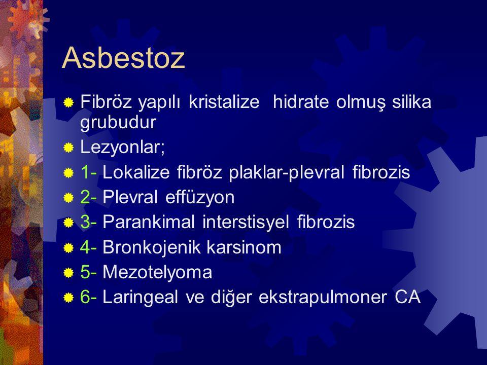 Asbestoz  Fibröz yapılı kristalize hidrate olmuş silika grubudur  Lezyonlar;  1- Lokalize fibröz plaklar-plevral fibrozis  2- Plevral effüzyon  3- Parankimal interstisyel fibrozis  4- Bronkojenik karsinom  5- Mezotelyoma  6- Laringeal ve diğer ekstrapulmoner CA